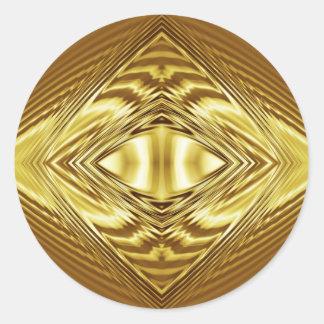 Simetría elegante del oro pegatina redonda