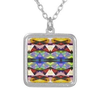 Simetría geométrica abstracta colorida collar plateado