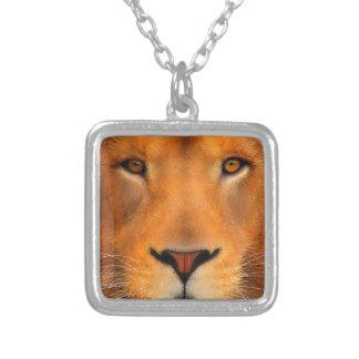 Simha Lion Face Square Pendant Necklace