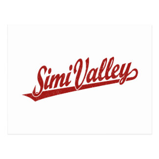 Simi Valley script logo in red distressed Postcard