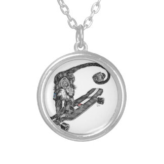 Simian Selfie Art Silver Plated Necklace