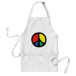 Simle Colourful Flowing Peace Sign Adult Apron