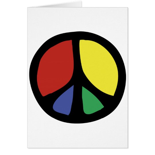 Simle Colourful Flowing Peace Sign Card