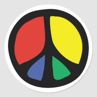 Simle Colourful Flowing Peace Sign Classic Round Sticker