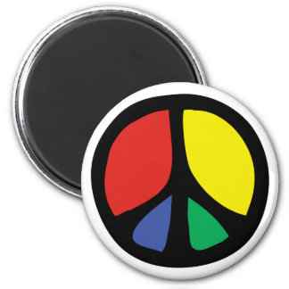 Simle Colourful Flowing Peace Sign Magnet