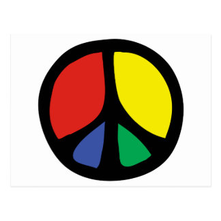 Simle Colourful Flowing Peace Sign Postcard