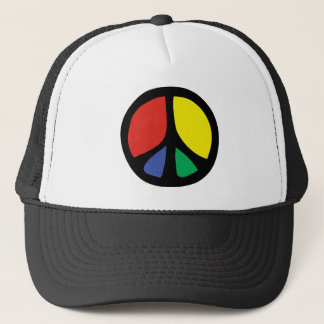 Simle Colourful Flowing Peace Sign Trucker Hat