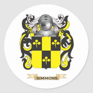 Simmons Coat of Arms Family Crest Round Stickers