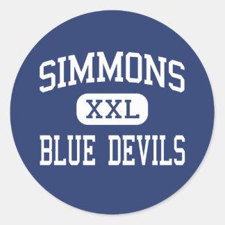 Simmons - diablos azules - alto - Hollandale Pegatinas Redondas