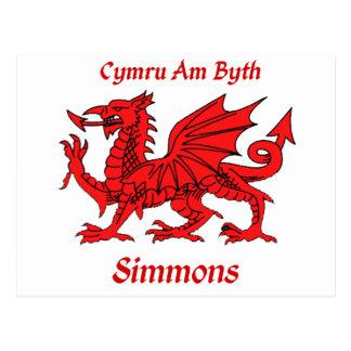 Simmons Welsh Dragon Postcards
