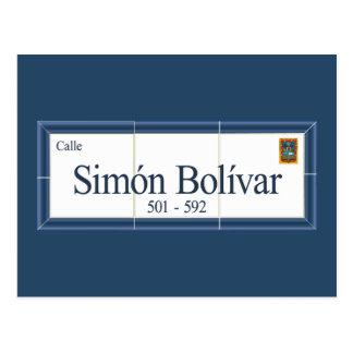 Simon Bolivar, placa de calle, Sucre, Bolivia Tarjeta Postal