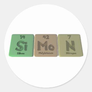 Simon como nitrógeno del molibdeno del silicio pegatina redonda