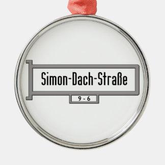 Simon-Dach-Strasse, placa de calle de Berlín Adorno Redondo Plateado