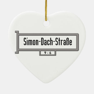 Simon-Dach-Strasse, placa de calle de Berlín Adorno De Cerámica En Forma De Corazón