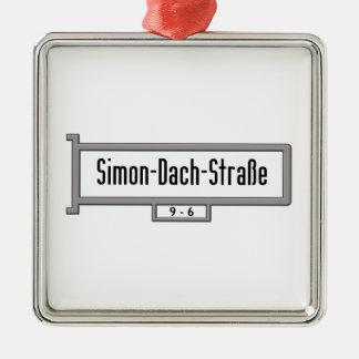 Simon-Dach-Strasse, placa de calle de Berlín Adorno Cuadrado Plateado