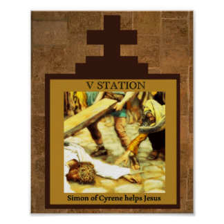 Simon of Cyrene Helps Jesus Station 5 Poster
