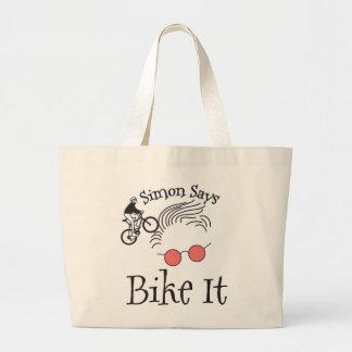 Simon Says bike it Large Tote Bag