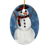 Simon the Snowman Ceramic Ornament