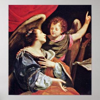 Simon Vouet - St Cecilia con un ángel Poster