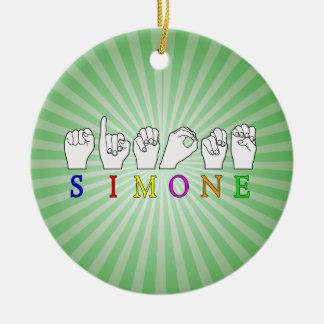 SIMONE  ASL FINGERSPELLED NAME SIGN CERAMIC ORNAMENT