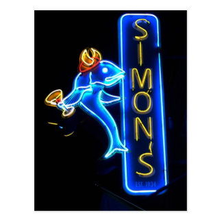Simons Gorgeous Neon Sign Post Card