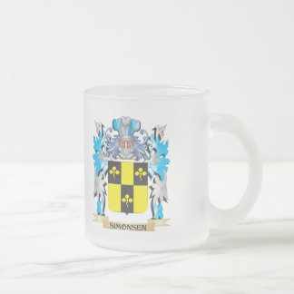 Simonsen Coat of Arms - Family Crest 10 Oz Frosted Glass Coffee Mug