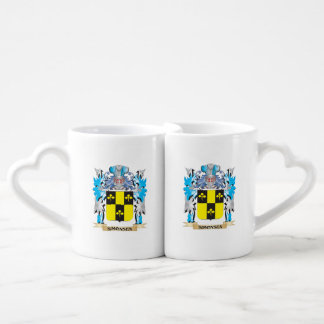 Simonsen Coat of Arms - Family Crest Couples' Coffee Mug Set