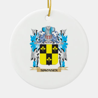 Simonsen Coat of Arms - Family Crest Double-Sided Ceramic Round Christmas Ornament