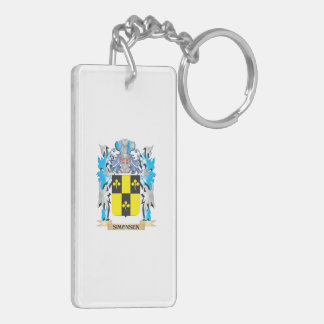 Simonsen Coat of Arms - Family Crest Double-Sided Rectangular Acrylic Keychain