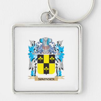 Simonsen Coat of Arms - Family Crest Silver-Colored Square Keychain