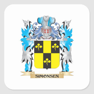 Simonsen Coat of Arms - Family Crest Square Sticker