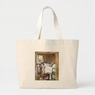 Simpkin the Cat Serves Tea - Beatrix Potter Large Tote Bag