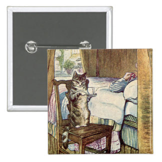 Simpkin the Cat Serves Tea - Beatrix Potter Pinback Button