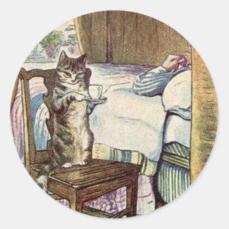 Simpkin the Cat Serves Tea - Beatrix Potter Classic Round Sticker