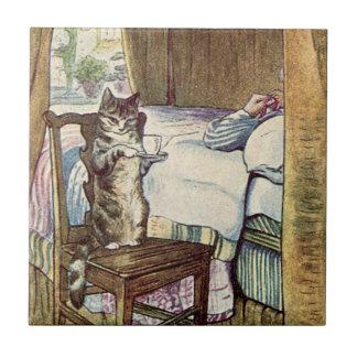 Simpkin the Cat Serves Tea - Beatrix Potter Small Square Tile