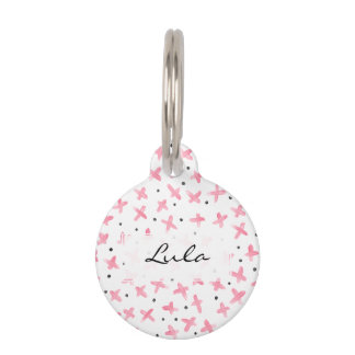 Simpl pastel pink acrylic dots cross pattern pet ID tag