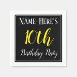 [ Thumbnail: Simple, 10th Birthday Party W/ Custom Name Paper Napkin ]