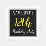[ Thumbnail: Simple, 12th Birthday Party W/ Custom Name Napkin ]
