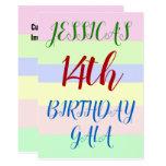 "[ Thumbnail: Simple ""14th Birthday Gala"" Birthday Invitation ]"