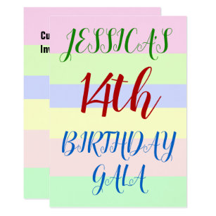 14 year old birthday invitations zazzle