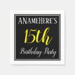[ Thumbnail: Simple, 15th Birthday Party W/ Custom Name Napkin ]