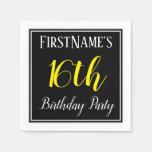 [ Thumbnail: Simple, 16th Birthday Party W/ Custom Name Paper Napkin ]