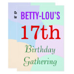 "[ Thumbnail: Simple ""17th Birthday Gathering"" Invitation ]"