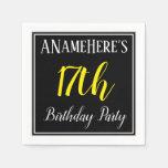 [ Thumbnail: Simple, 17th Birthday Party W/ Custom Name Napkin ]