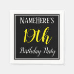 [ Thumbnail: Simple, 19th Birthday Party W/ Custom Name Paper Napkin ]