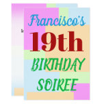 "[ Thumbnail: Simple ""19th Birthday Soiree"" Invitation ]"