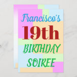 "[ Thumbnail: Simple ""19th Birthday Soiree"" Invitation ]"