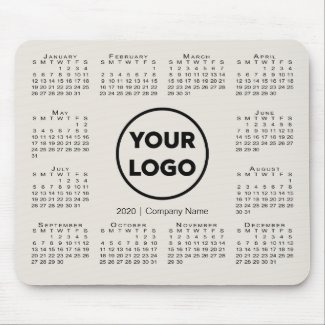 Simple 2020 Calendar Business Company Logo Beige Mouse Pad