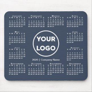 Simple 2020 Calendar Business Logo on Navy Blue Mouse Pad