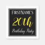 [ Thumbnail: Simple, 20th Birthday Party W/ Custom Name Paper Napkin ]
